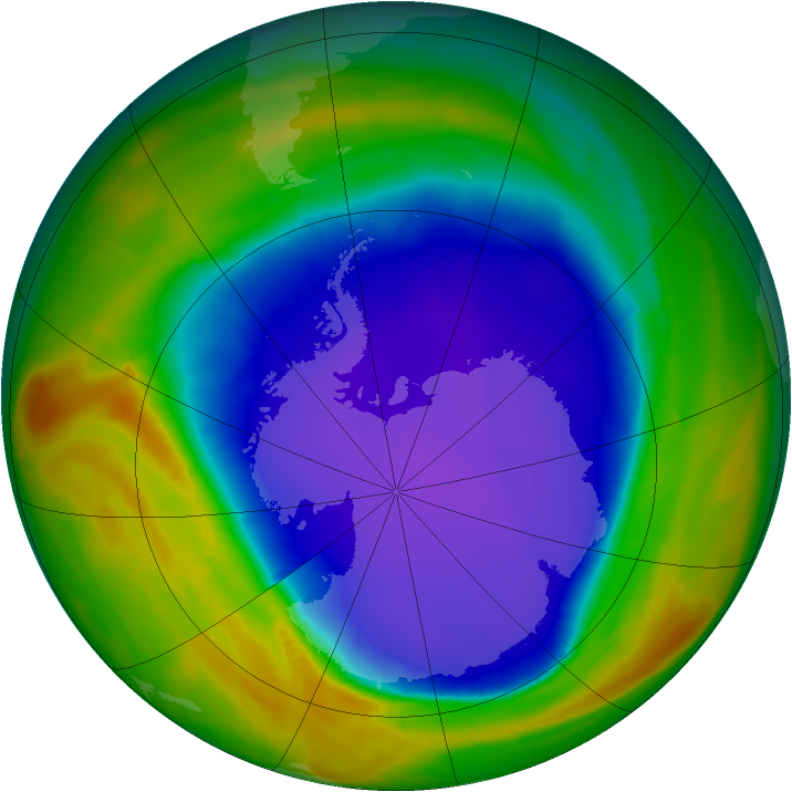 Antarctic ozone map for 30 September 2014